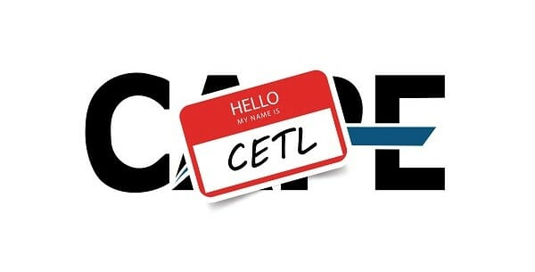 "Old CAPE logo with a Name tag sticker over top that says ""Hello My Name is CETL"""