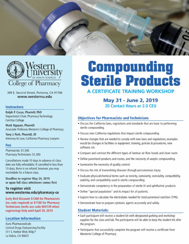 Compounding Sterile Products - a certificate training workshop on May 31 to June 2, 2019