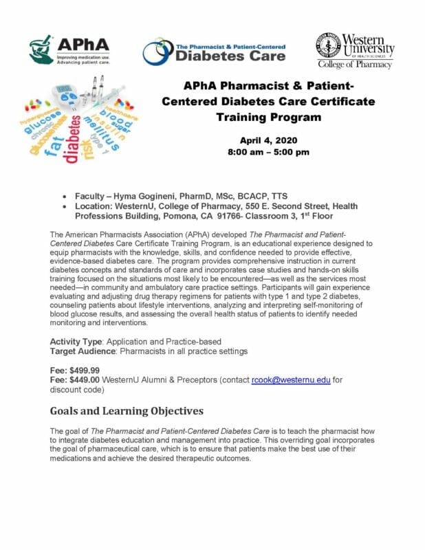 APhA Pharmacist & Patient- Centered Diabetes Care Certificate Training Program