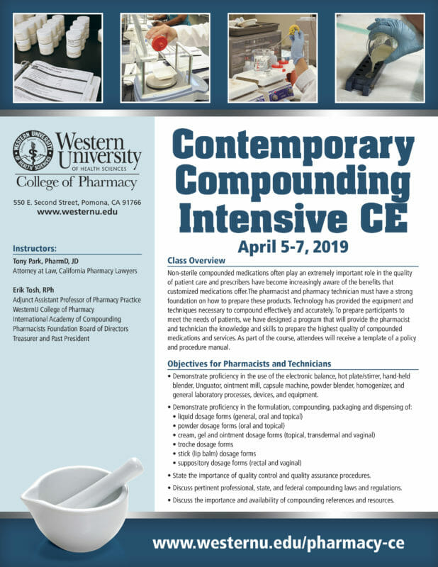 Contemporary Compounding Intensive CE, April 5 to 7, 2019