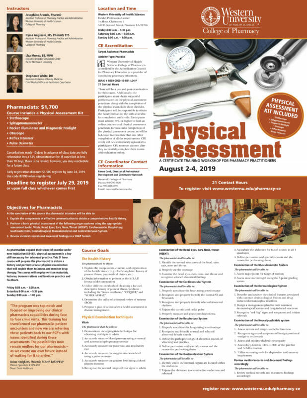 Physical Assessment Workshop August 2 to 4, 2018