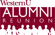 WesternU ALUMNI REUNION logo. Red and with with people silhouette in white