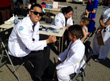 Student performing a vision screening