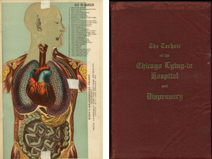 Special collections anatomy page and book cover