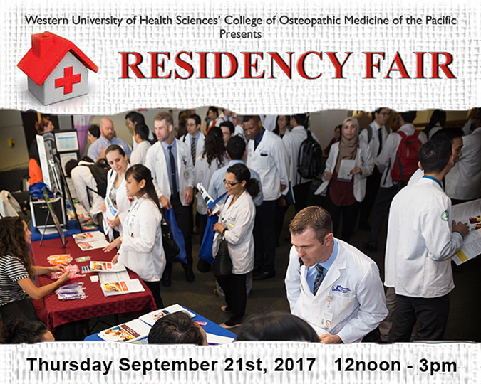 Two osteopathic students speak with a hospital representative at the Residency Fair