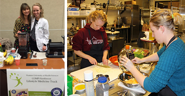 lifestyle medicine students gaining skills in kitchen for special diet preparation