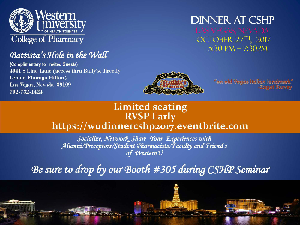 Flyer for WesternU Dinner Reception at CSHP