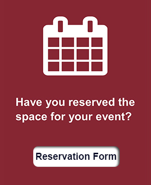 "Icon calendar with  a sentence, ""have you reserved space for your event?."""