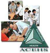 DO students working with patients; ACEHS logo