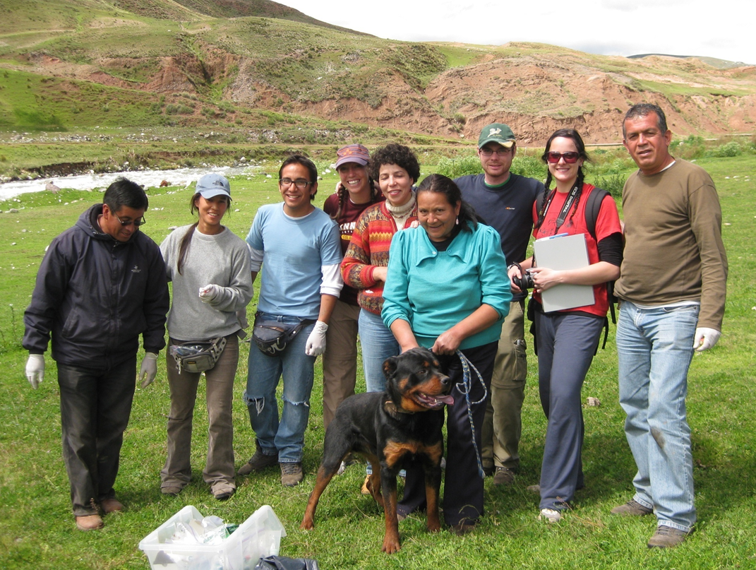Dr. Malika Kachani involved with students in Peru
